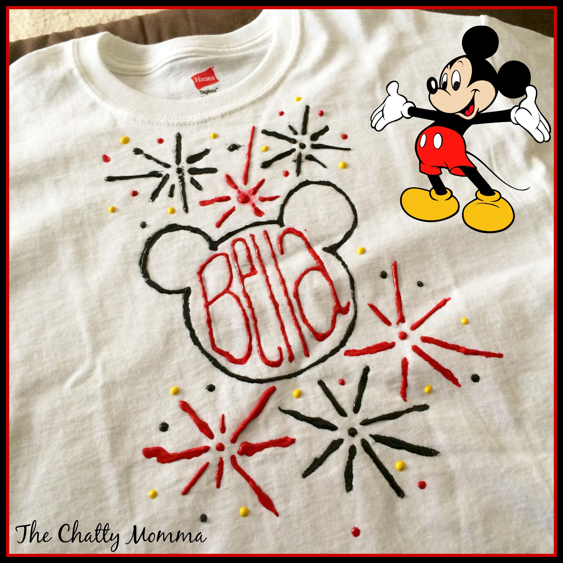 Showing our disneyside with a mickey mouse clubhouse for How to paint on t shirt