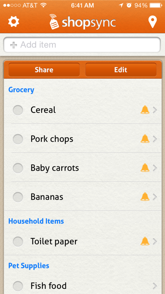 The Chatty Momma Shopsync Shopping List