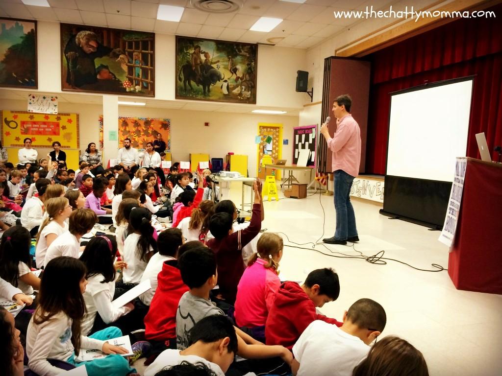 Author Jeff Kinney speaks to students at Francis Scott Key Elementary