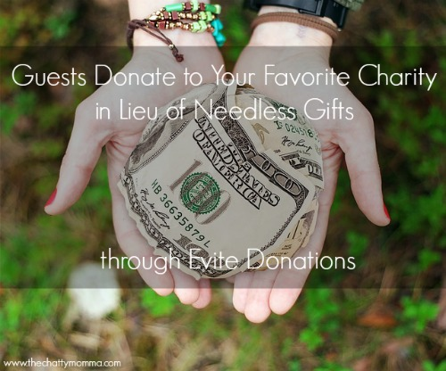 Guests Donate to Your Favorite Charity in Lieu of Needless Gifts through Evite Donations #BeThere #Evite #1MillionTogether