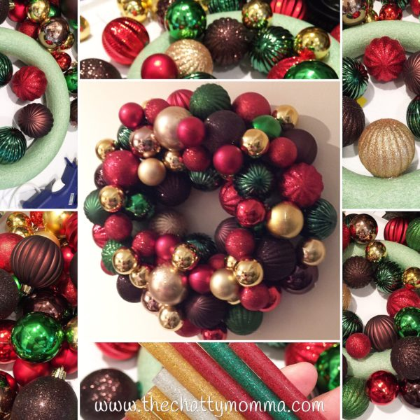 The Chatty Momma Easy DIY Christmas Ball Wreath